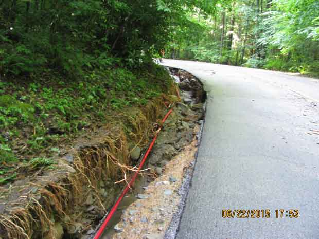 Cosby Entrance Road Storm Damage
