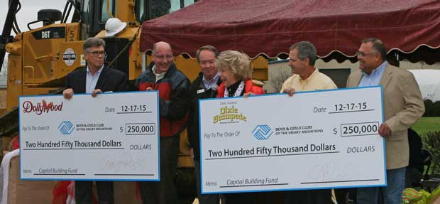 Dollywood and Dixie Stampede each donate $250,000 to the capital campaign fund to build the new Boys and Girls Club.