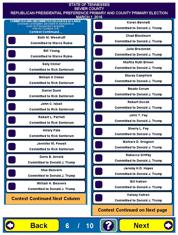 Sevier County Republican Sample Ballot 16