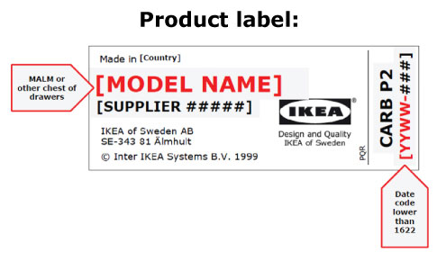 IKEA Dressers Recalled Label