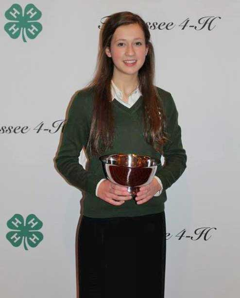 Lindsey Hedrick of Sevier County – State Winner for the 9th grade 4-H Public Speaking Contest