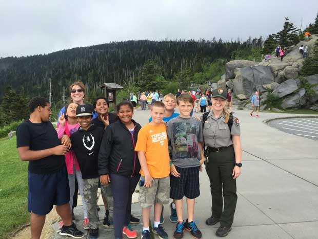 Vestal Boys and Girls Club visit Clingmans Dome in Great Smoky Mountains National Park with Park Ranger Misty Benton. NPS Photo.