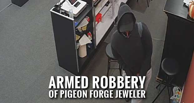 A masked man with a handgun robbed B&R Jewelers on Wednesday just as the store was closing for the night.