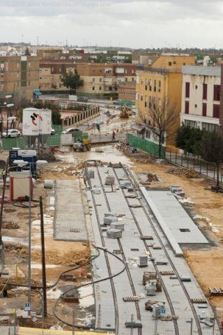 Obras de la estación 'Avenida de la Consistución', bajo la que el PA propone construir un aparcamiento subterráneo/FA