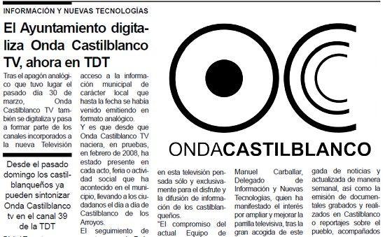Las publicaciones municipales del Ayuntamiento anuncian la digitalización de Onda Castilblanco TV que emite sin concesiones administravias en el canal 39 de la TDT