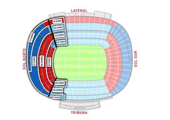 Mapa del Camp Nou para la venta de entradas de la Final de la Copa del Rey / SevillaFC