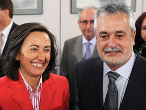 La consejera de Medio Ambiente, Rosa Aguilar con el presidente de la Junta de Andalucía.