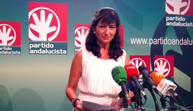 Pilar González esta mañana en la sede del PA