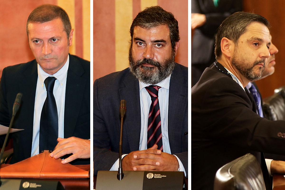 Ramón Díaz, Antonio Diz-Lois y Fernando Mellet durante su comparecencia en la comisión de investigación de los ERE del Parlamento de Andalucía