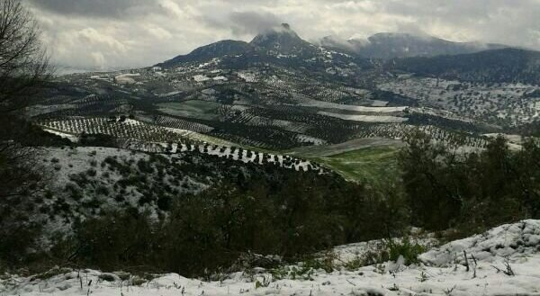 La nieve sobre el peñón de Algámitas, en la sierra del Terril de la Sierra Sur de Sevilla / Alejandro Copete
