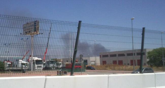 El incendio en una fábrica envasadora de frutas en Mairena comenzó en torno a las dos de la tarde / Alejandro Balbuena