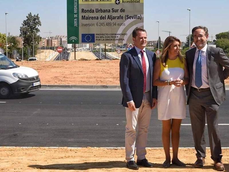 Díaz visita las obras de la Ronda Urbana Sur de Mairena /Junta