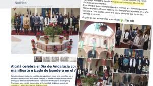 Captura de la web municipal y publicación en redes de la alcaldesa, con errores de bulto sobre el 28F