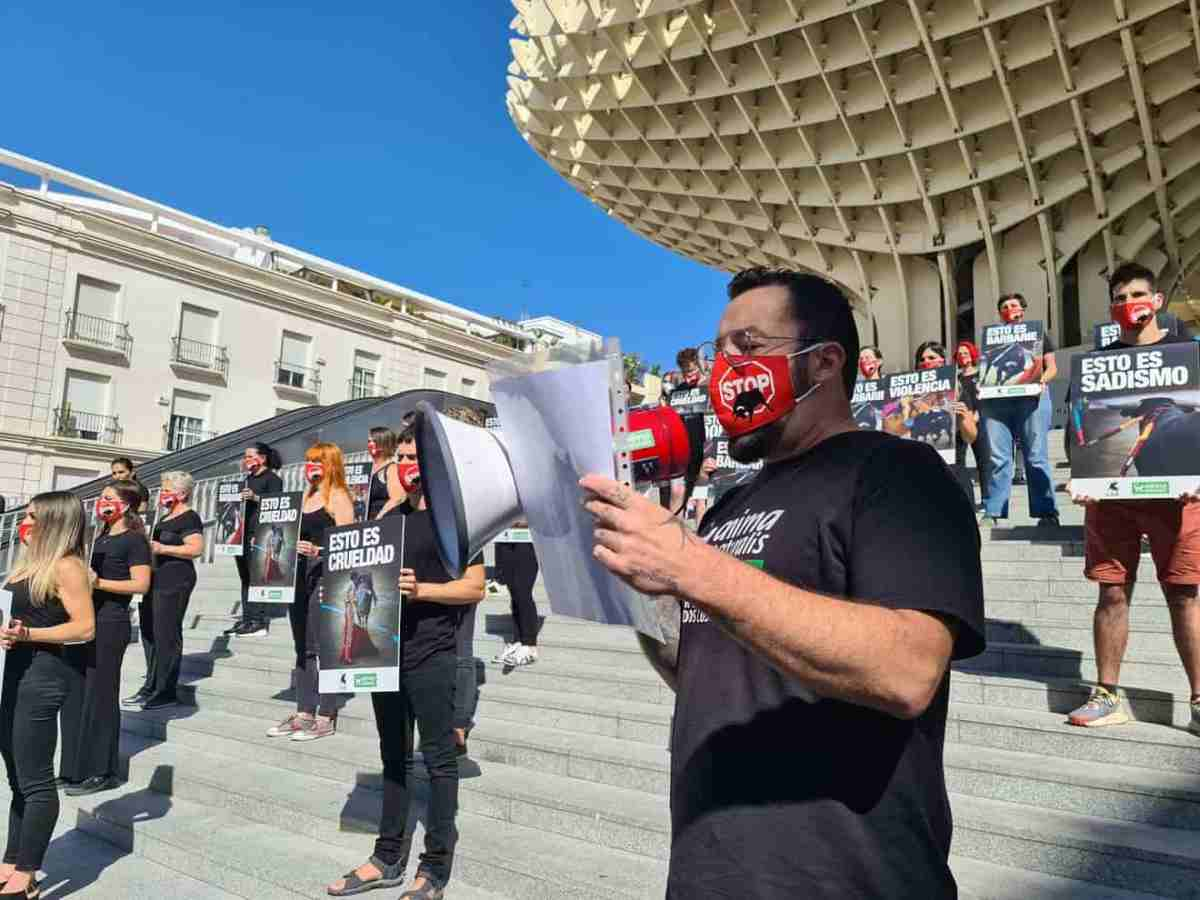 Manifestacion contra la tauromaquia en Sevilla / AnimaNaturalis