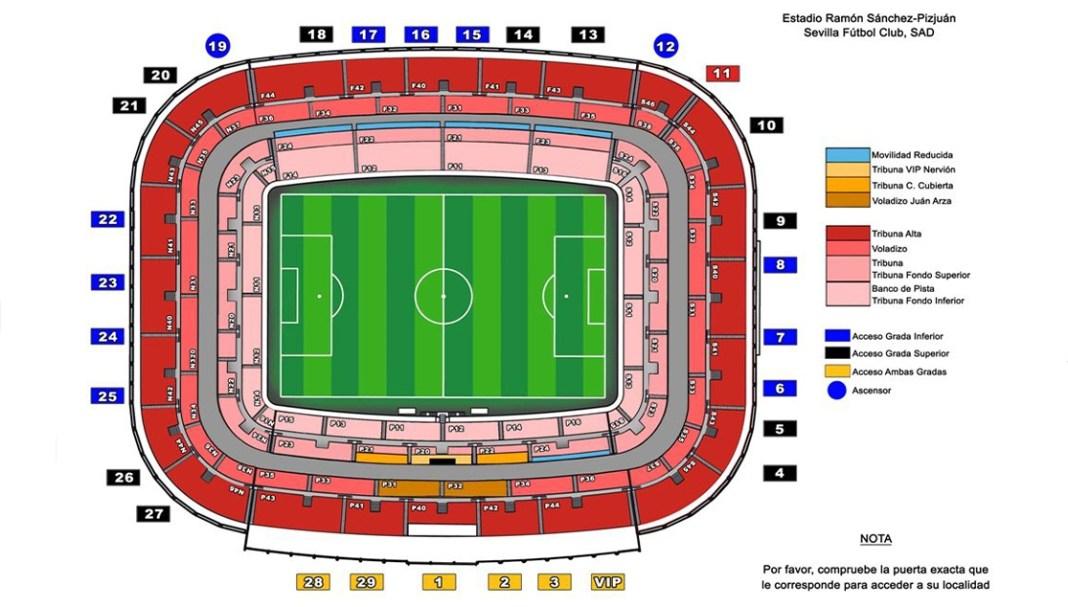 Accesos al Estadio Ramón Sánchez-Pizjuán 19/20