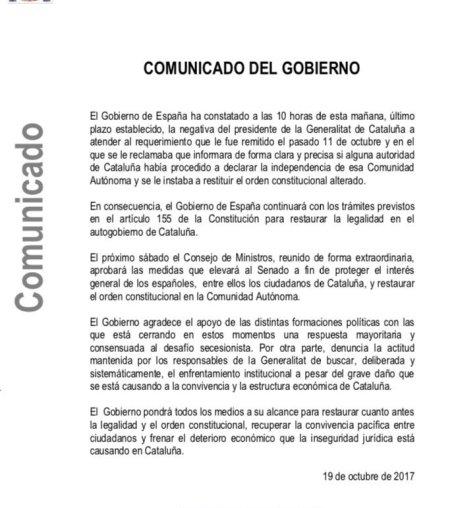 Carta de Mariano Rajoy al presidente de la Generalitat