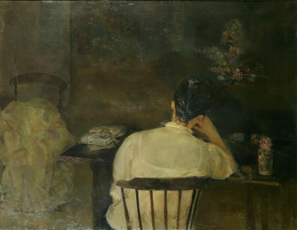 Mujer sentada de espalda (Las cartas), 1963. Carmen Laffon