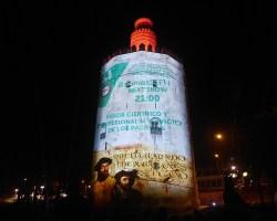 La Torre del Oro conmemoró con un mapping la partida desde Sevilla de la primera vuelta al mundo