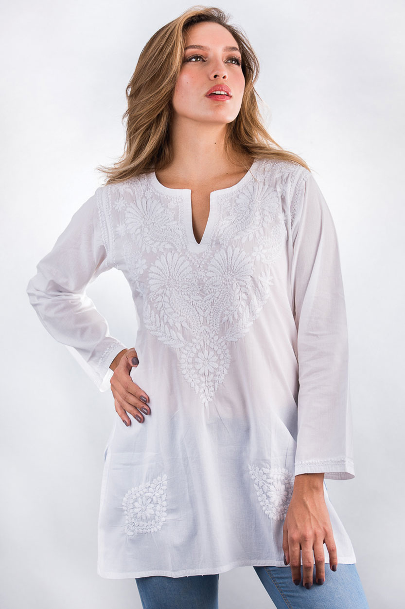 White Tunic Top With Hand Embroidery On Soft Cotton From India