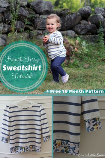 French Terry Sweatshirt Tutorial and Free 18 Month Pattern