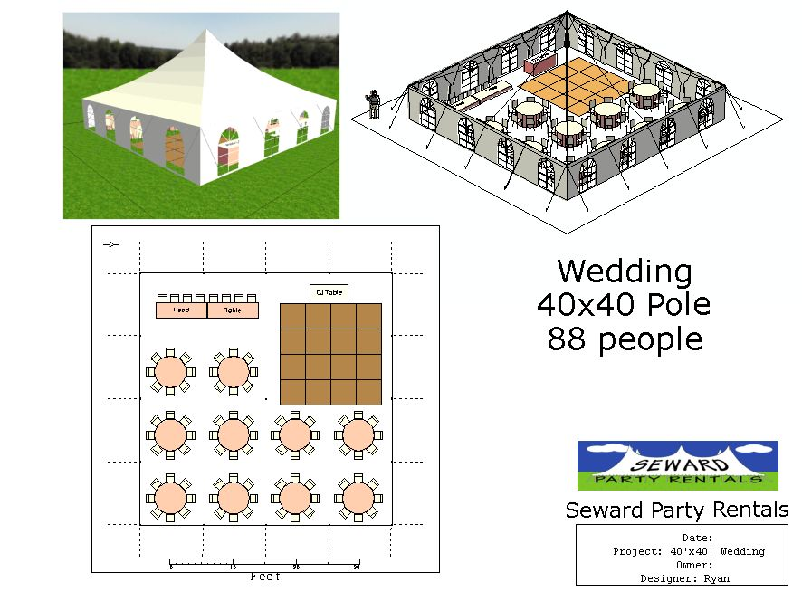 Please feel free to browse our Wedding Tent Layouts for your upcoming wedding. We hope these will help you decide on the perfect tent size for your party!  sc 1 st  Seward Party Rentals & Wedding Tent Layouts - Seward Party Rentals | Seward Party Rentals