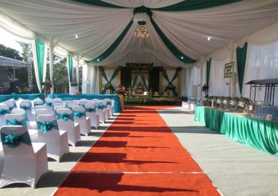 tenda balon putih, hijau tosca