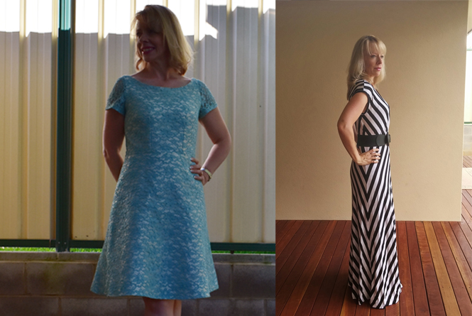 Two examples of 1/4 circle skirts