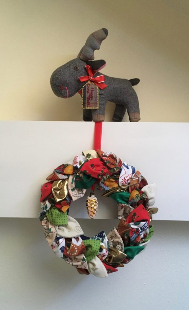 Homemade fabric Christmas wreath