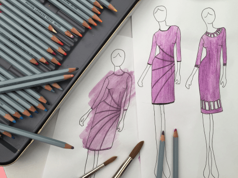 Sketch of purple dress ideas