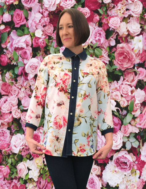 Rosie Shirt Floral with Denim image