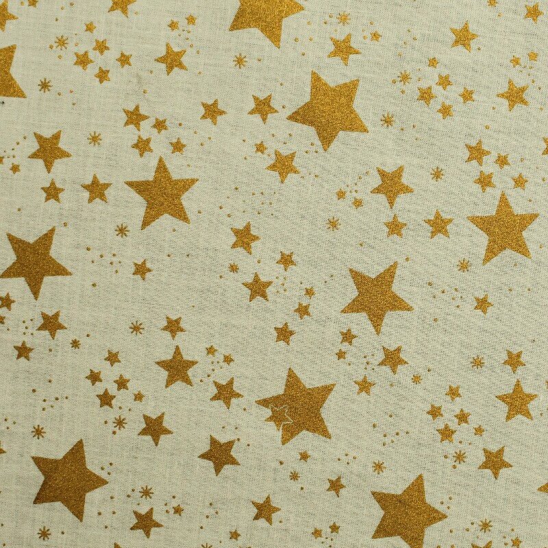 Gold Stars On Cream Cotton Xmas Christmas Fabric Sewing