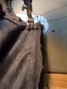 Sewing jacket with side seam.