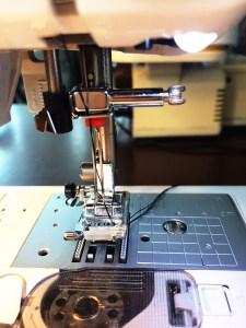 Twin needle in machine.
