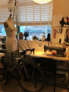 Both biking and sewing are repetitive activities that I'm able to do without really thinking (as long as I'm sewing something straight forward).