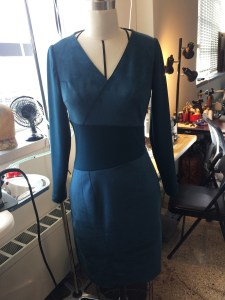 Tahari dress with new sleeves and center piece.