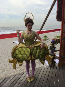 Costume involving fish.