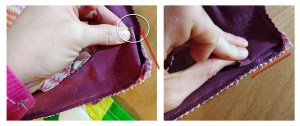 Fold the corners to each seam to make sure they match (the yellow mark in the photo below is my matching point).