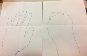 Tracing of hands.