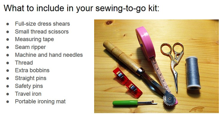 Here is the list of supplies to be sure to include in your travel sewing kit: