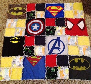 This week, I was doing sewing research, & I came across a wonderful option: a t-shirt quilt that's superhero-based.