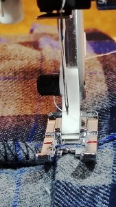 Last, stitch very close to folded edge on both legs, press the hem flat & you are done!