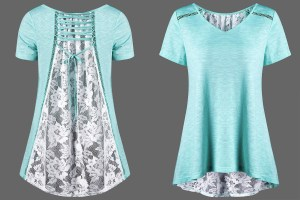 There are a couple of ways to use lace on a t-shirt.