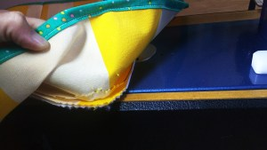 I chose to topstitch on the side piece versus the top & fold the Insul-Brite down toward the sides.