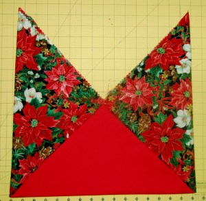 This one is made from three squares. I'll make the lining the same way & sew the two together.