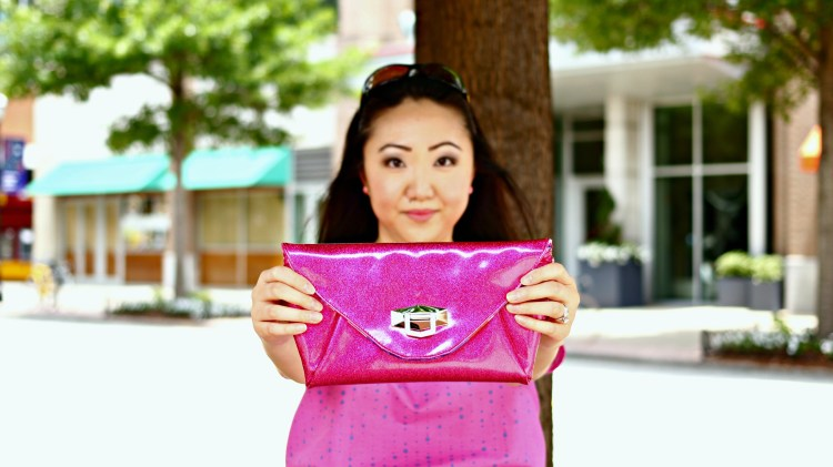 Jennifer Pink Outfit Glittery Fuschia Clutch Purse EDITED 2