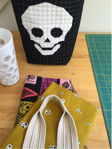 sew katie did | paper pieced skull door candy bucket