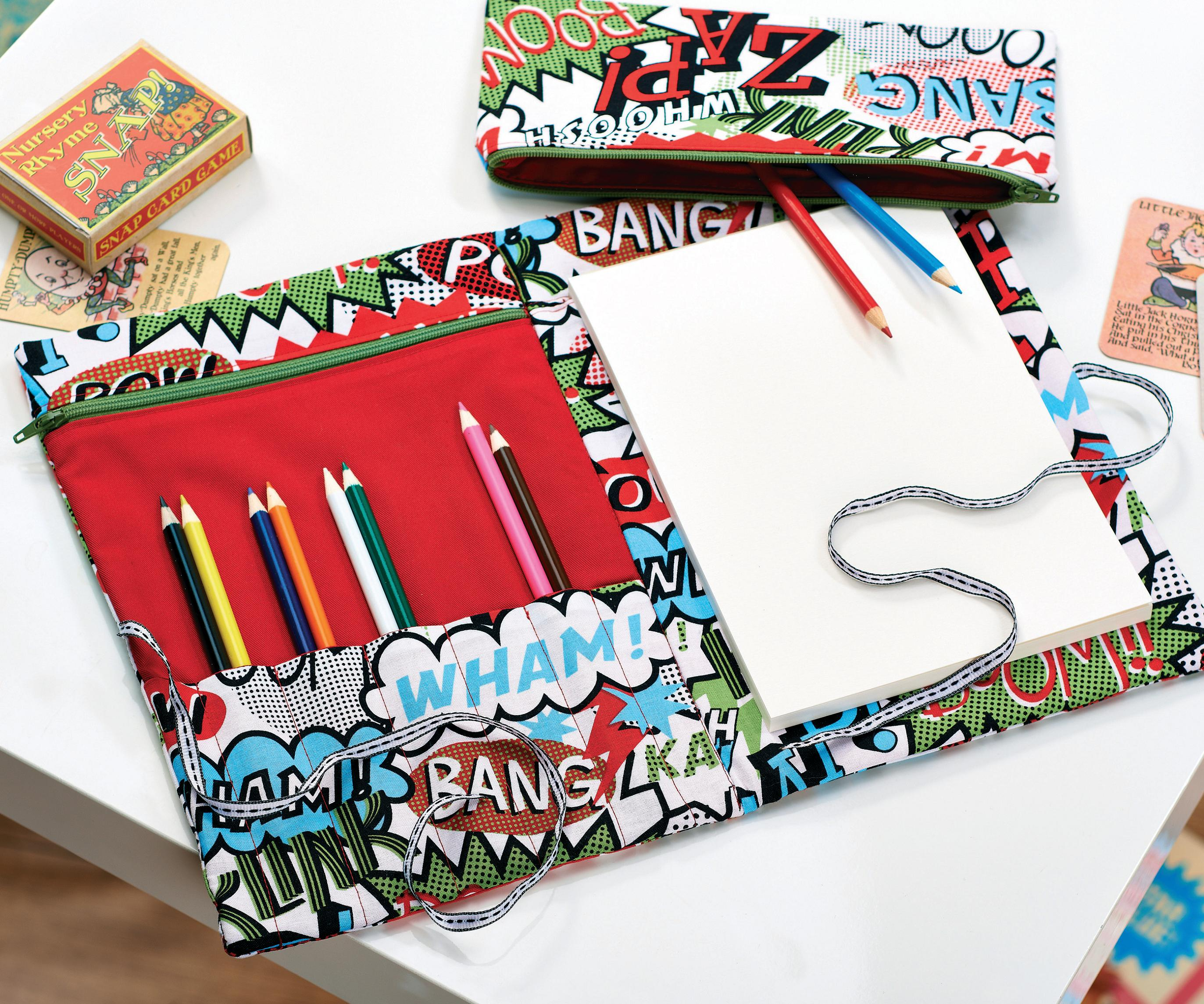 Comic Print Pencil Case And Folder Free Sewing Patterns