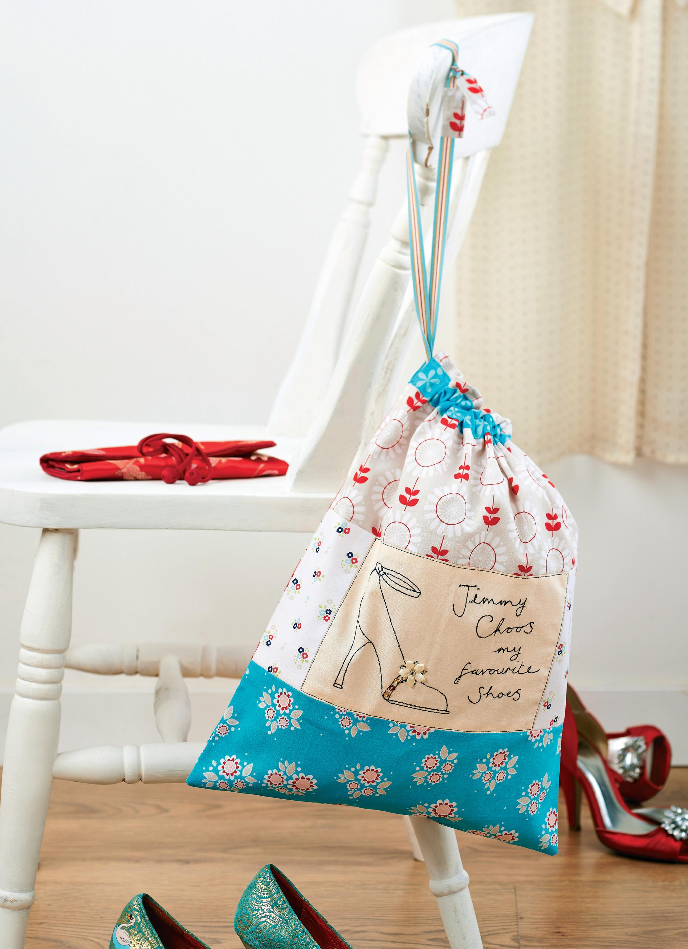 Shoe Bag And Shoe Embroidered Card Free Sewing Patterns