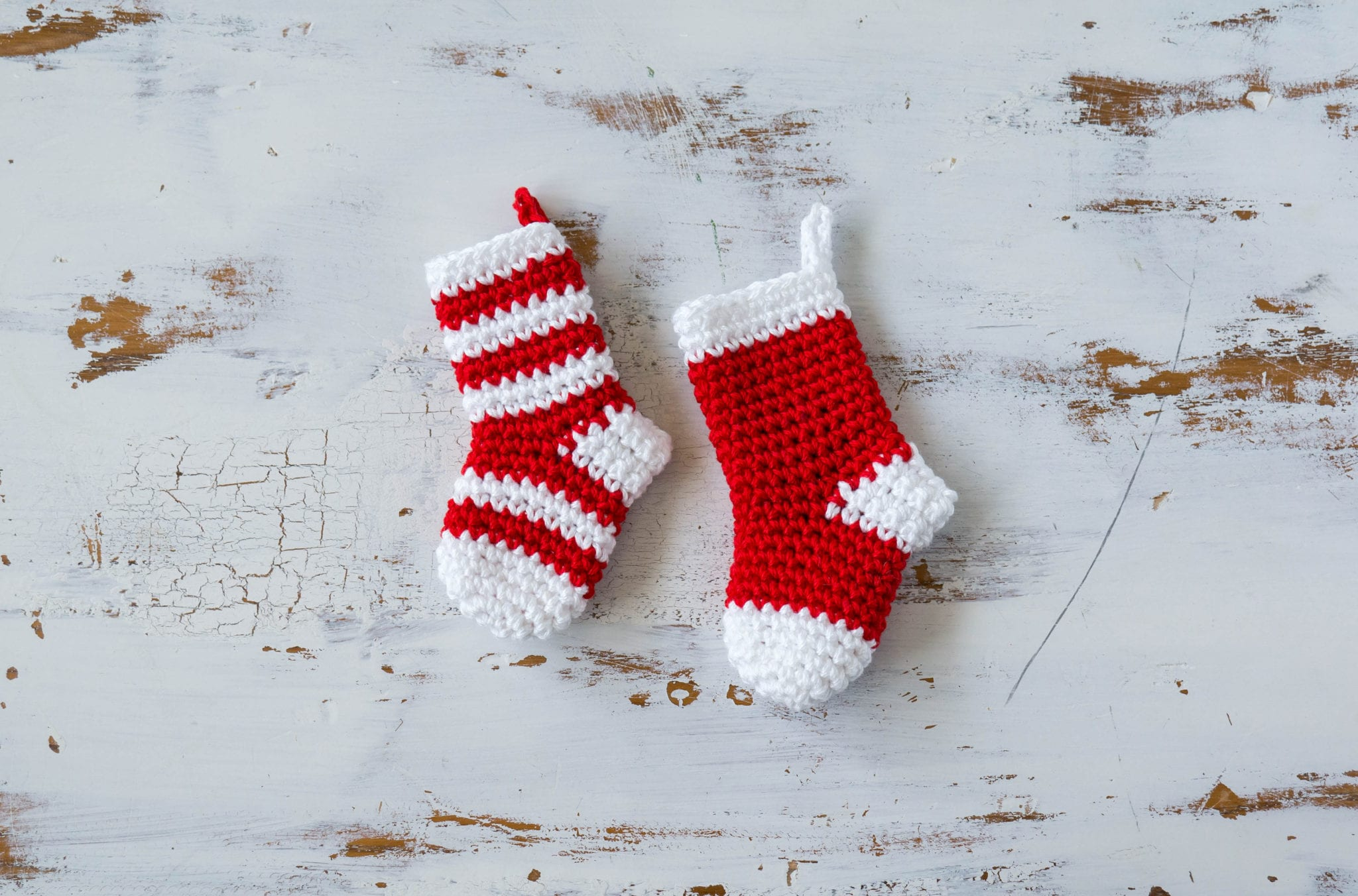Crochet Christmas Stocking.Crochet Mini Stockings Christmas Ornament Sewrella