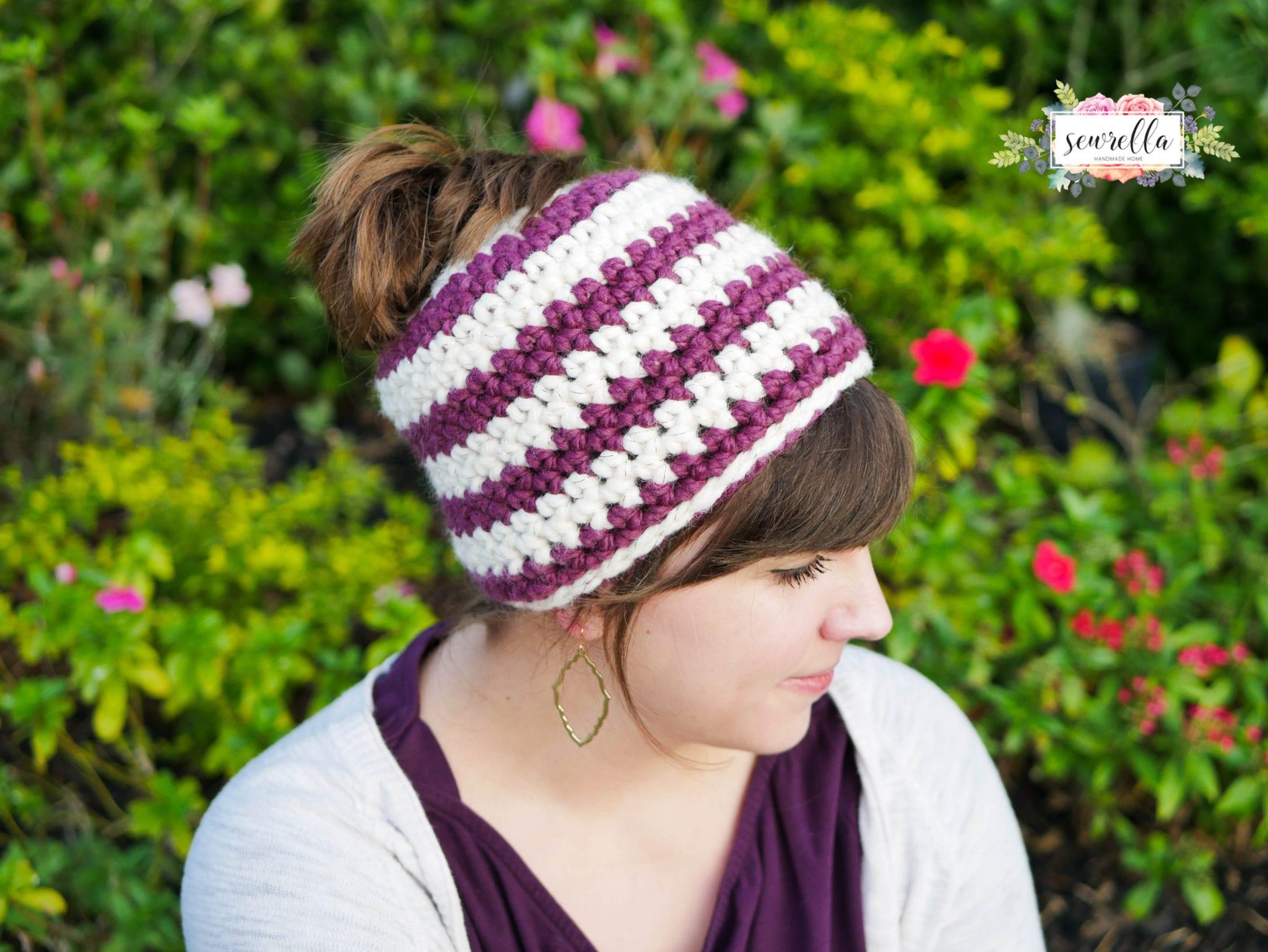 Crochet 1 hour Messy Bun Beanie - Sewrella e66f9e0298f9